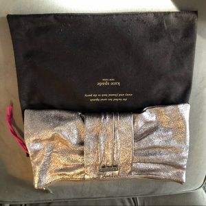 Kate Spade rose gold sparkle bow clutch